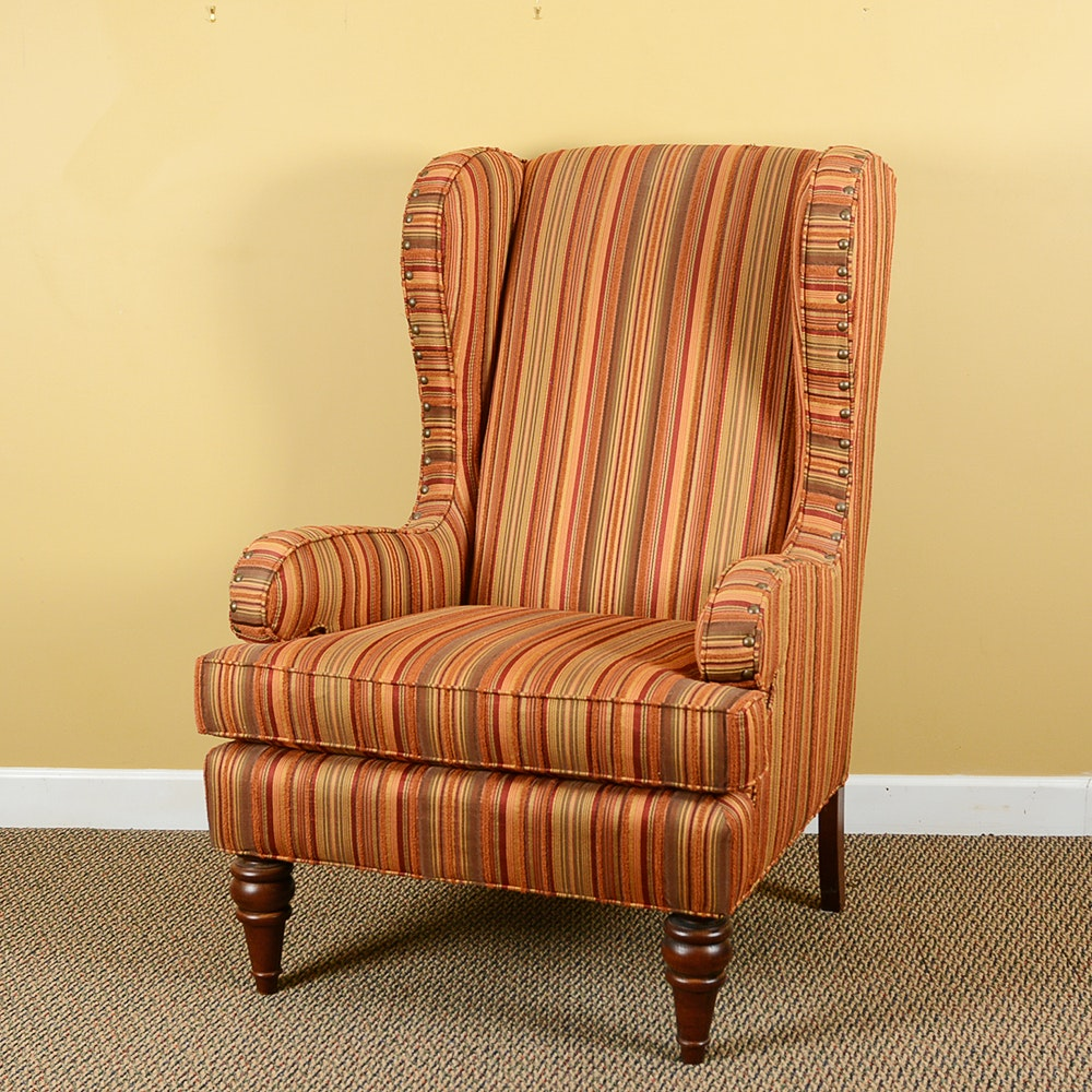 Striped Wingback Armchair