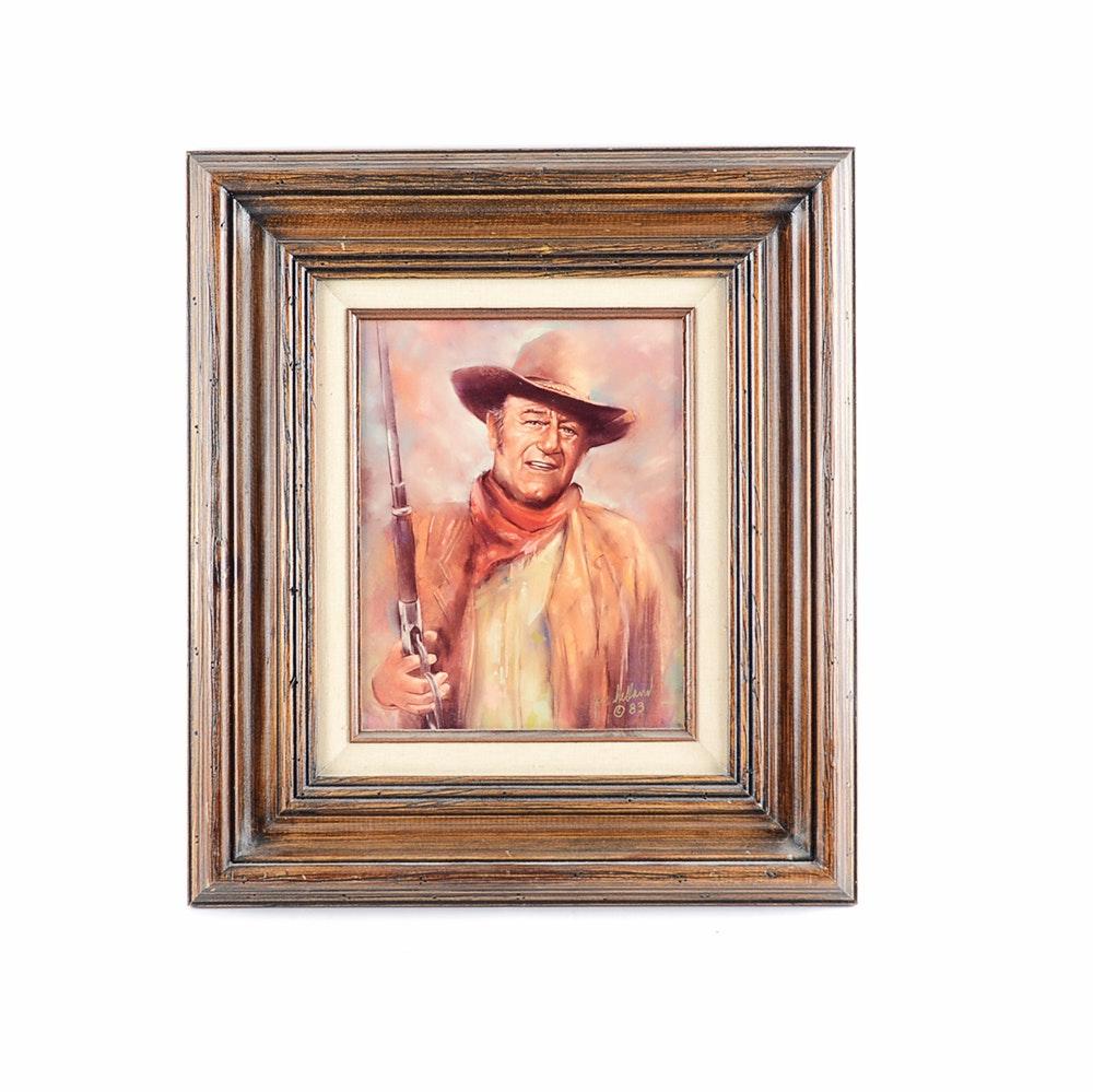 Signed Jon Helland Acrylic on Canvas of Portrait of John Wayne
