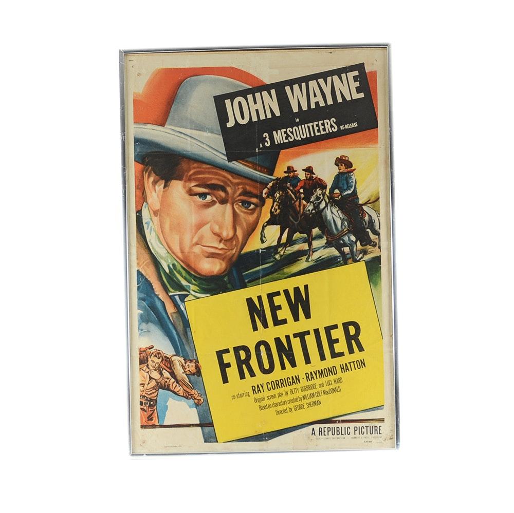 "Original ""New Frontier"" Movie Poster Featuring John Wayne"