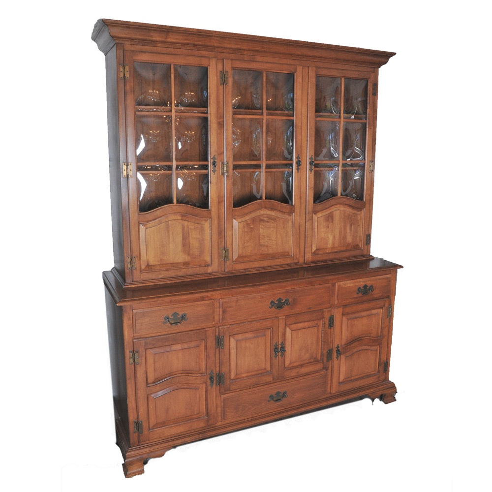 Vintage Kling Colonial Furniture Solid Cherry China Cabinet