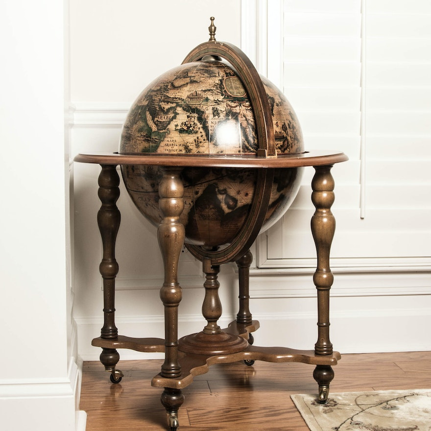 Large Old World Globe Bar In Wooden Stand