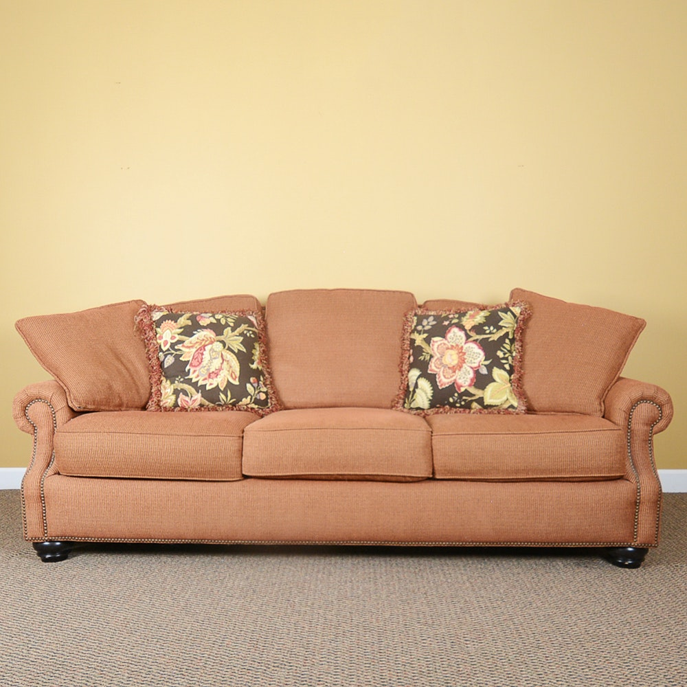 Bernhardt Red and Gold Upholstered Sofa