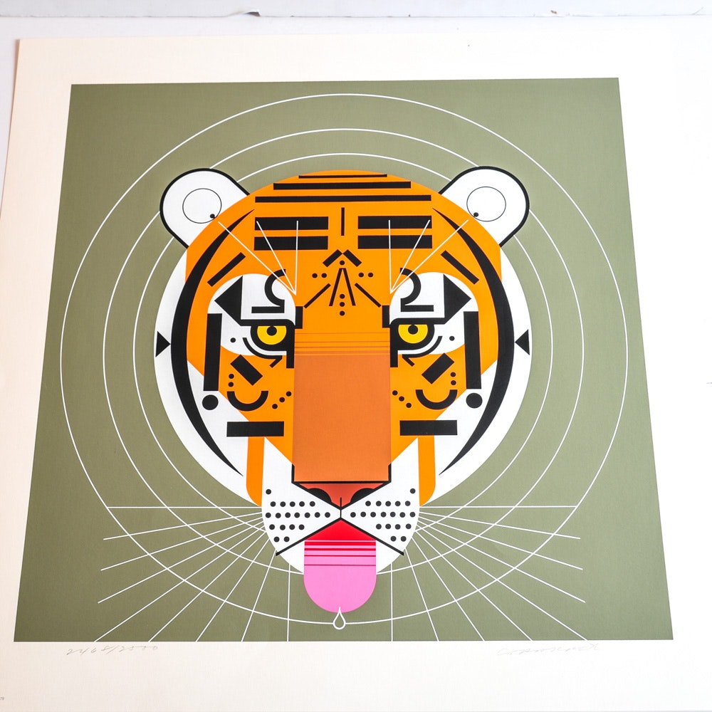 """Charley Harper """"Cool Carnivore"""" Signed Limited Edition Serigraph"""