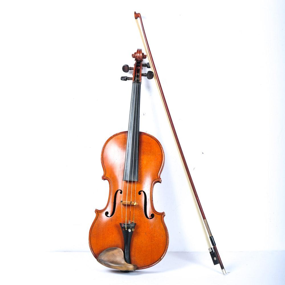 Circa 1900 Nicolas Bertolini Mirecourt Style Violin