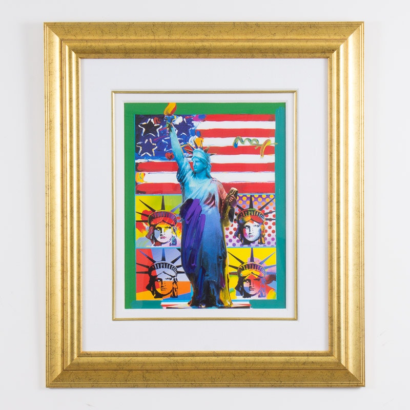 """Signed Mixed Media """"Full Liberty"""" by Peter Max"""