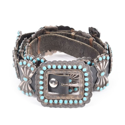 Vintage Victor Moses Begay Signed Native American Navajo Silver and Turquoise Concho Leather Belt