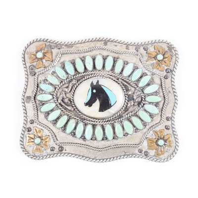 Large Handmade Native American Turquoise and Mother of Pearl Equestrian Two Tone Belt Buckle