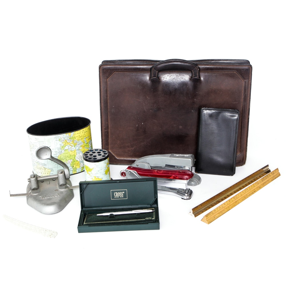 Vintage Office Accessories And Leather Briefcase ...