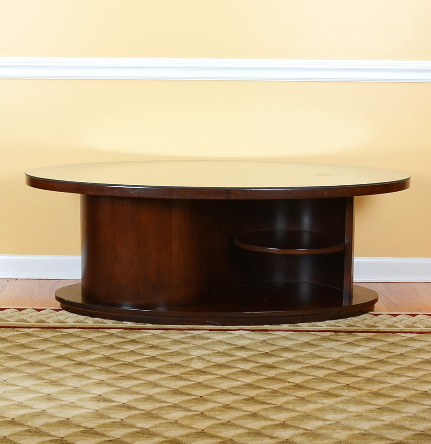 contemporary mahogany coffee table from bernhardt furniture ebth