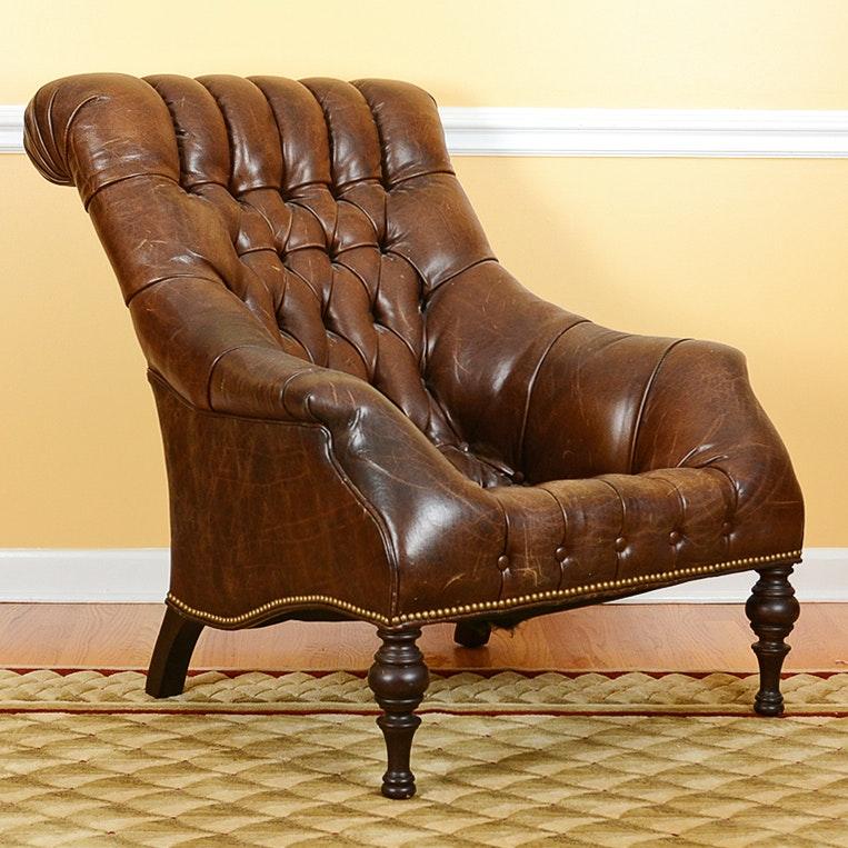 Tufted Leather Slantback Chair