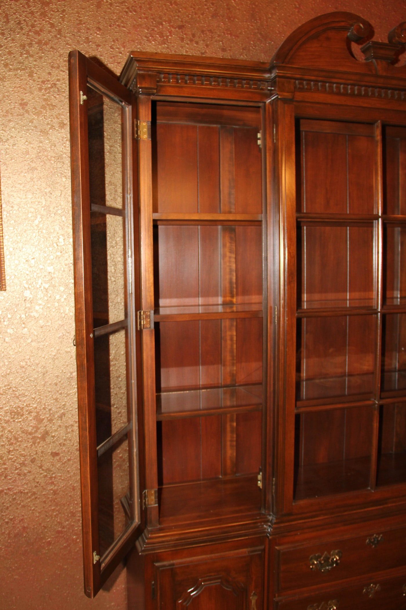 Harden Traditional Breakfront Cherry Dining Hutch Ebth