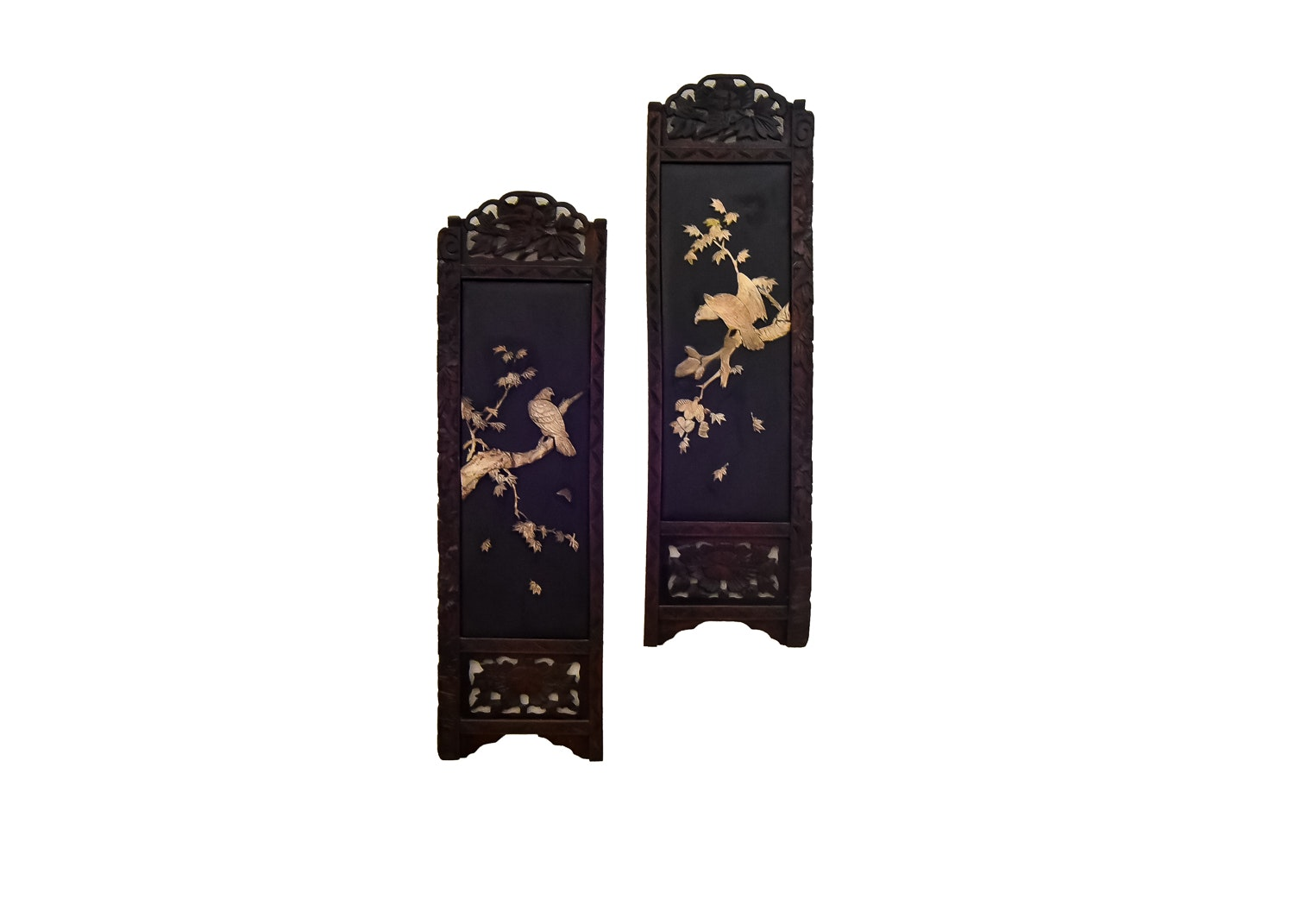 Pair Of Chinoiserie Lacquer Carved Wood Decorative Wall Panels