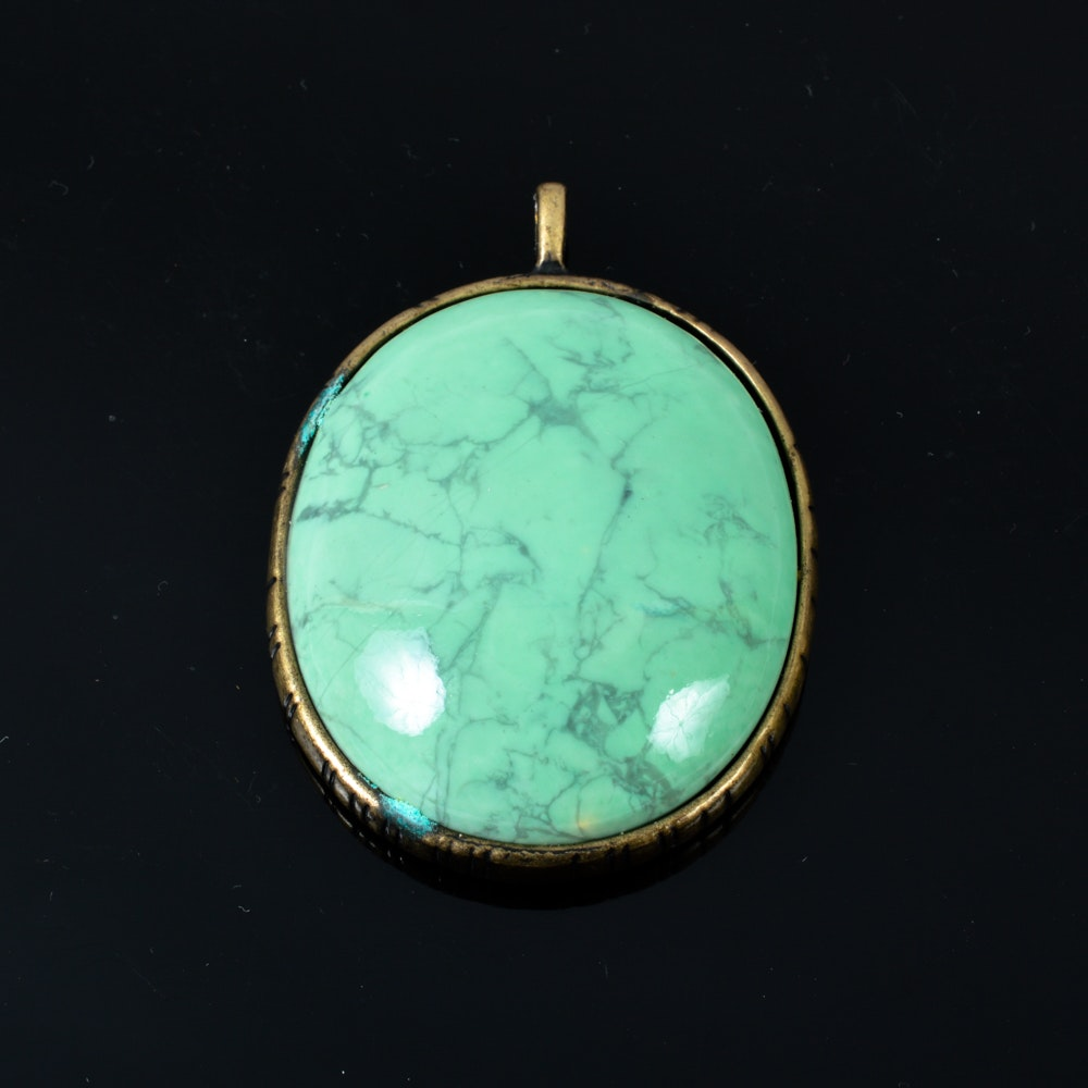 Large Manufactured Turquoise Pendant with Sun Design