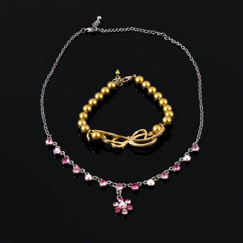 Pink Flower Necklace with Gold Tone Bow Bracelet