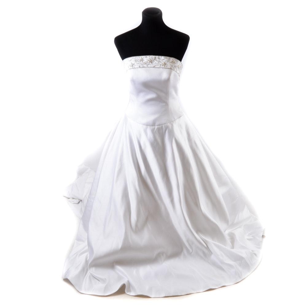 White Strapless Wedding Gown With Swarovski Crystals, Size 10