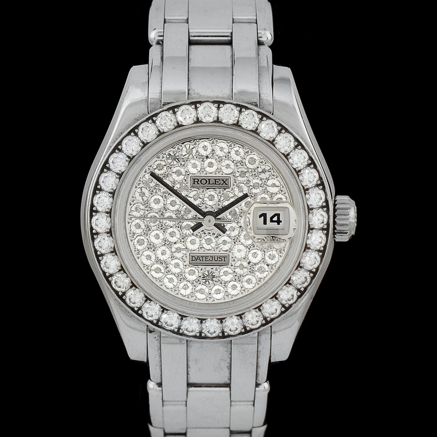 Women's 18K White Gold and Diamond Rolex Datejust Wristwatch