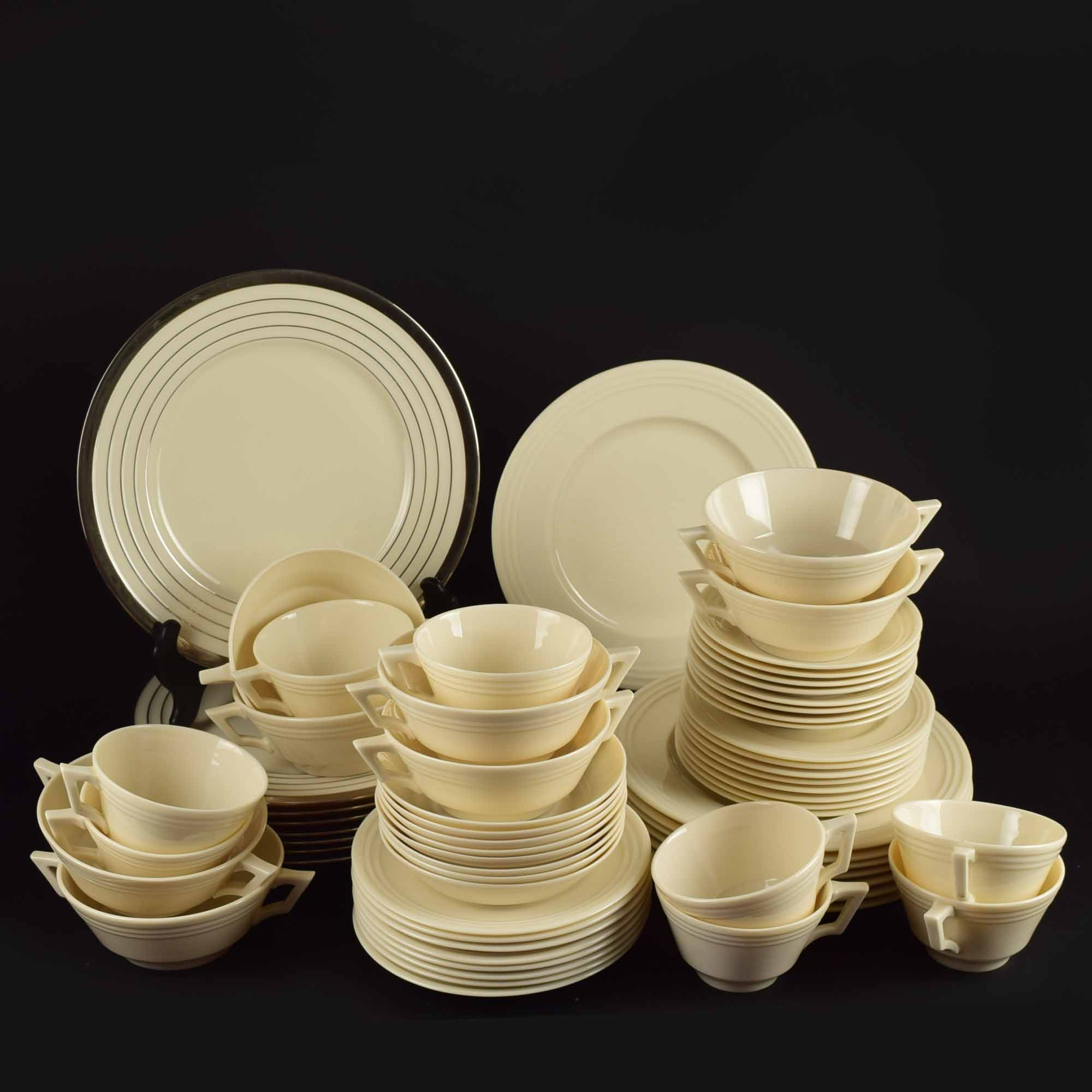 Vintage Lenox Art Deco Style China Service for Eight