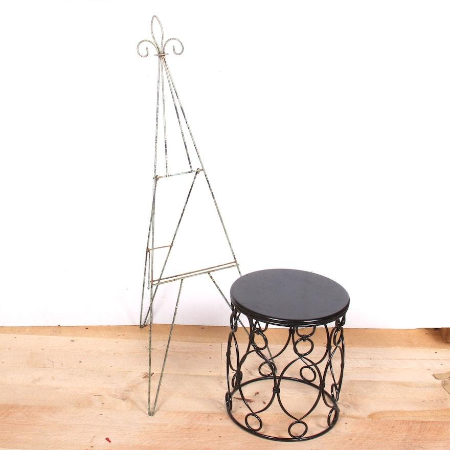 Astounding Art Deco Style Wrought Iron Garden Stool And Easel Evergreenethics Interior Chair Design Evergreenethicsorg