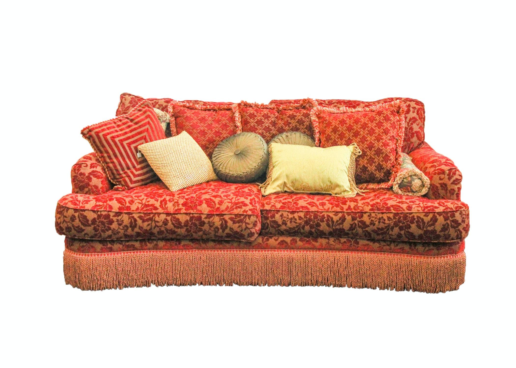 Red Floral Velveteen Brocatelle Sofa ...