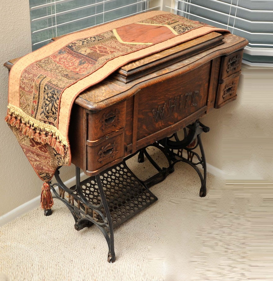 Treadle Sewing Machine Cabinet Antique Treadle Sewing Machine And Quarter Sawn Oak Cabinet Ebth