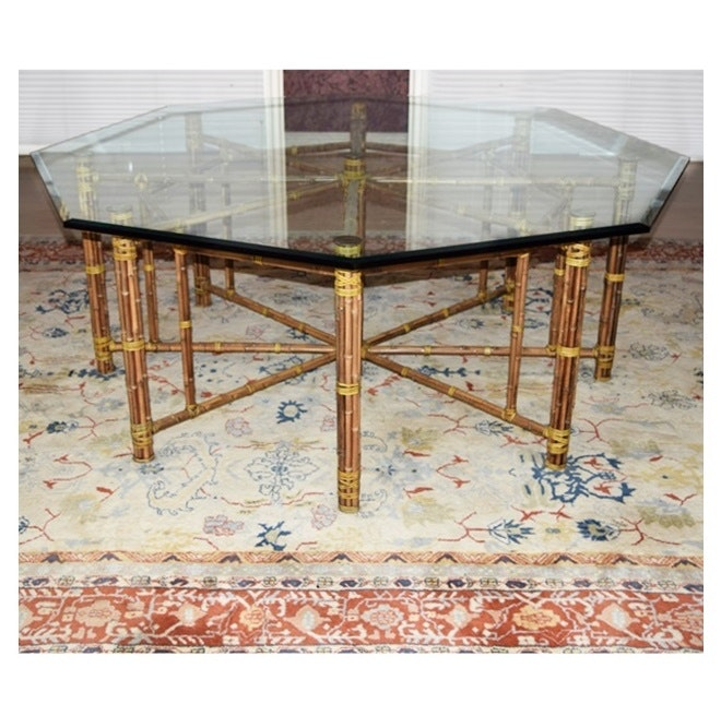 mcguire octagonal bamboo dining table with beveled glass top ebth