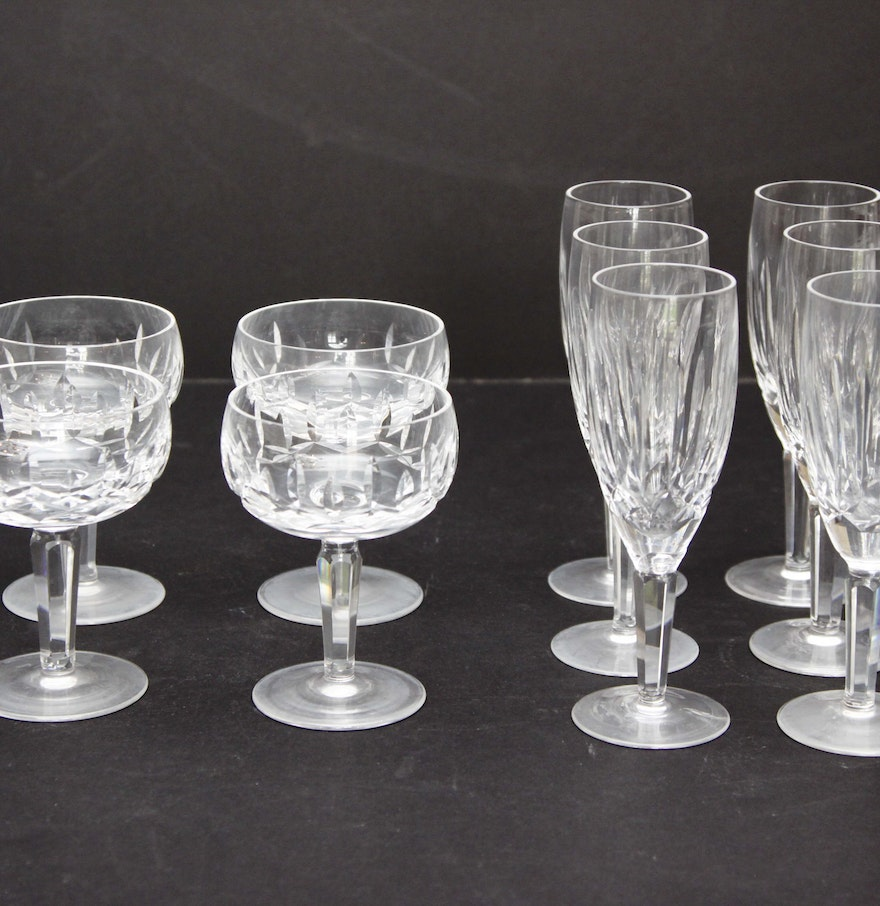 Ten waterford crystal champagne flutes and coupes ebth - Waterford champagne coupe ...