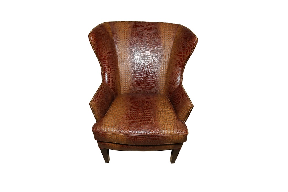 Genuine Alligator Leather Wing Back Chair