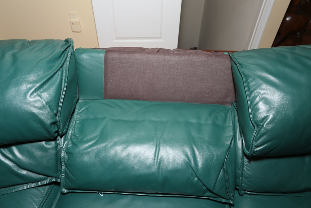 Thomasville Green Leather Reclining Three Piece Sectional