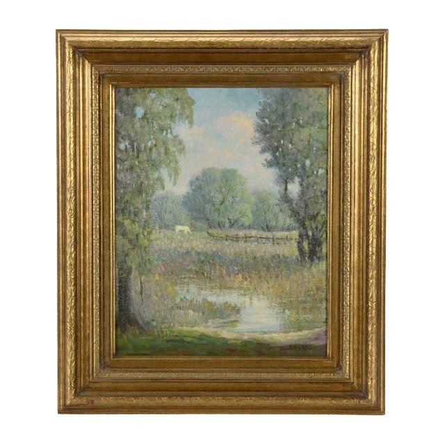 Joseph Baris Impressionistic Oil on Canvas Landscape
