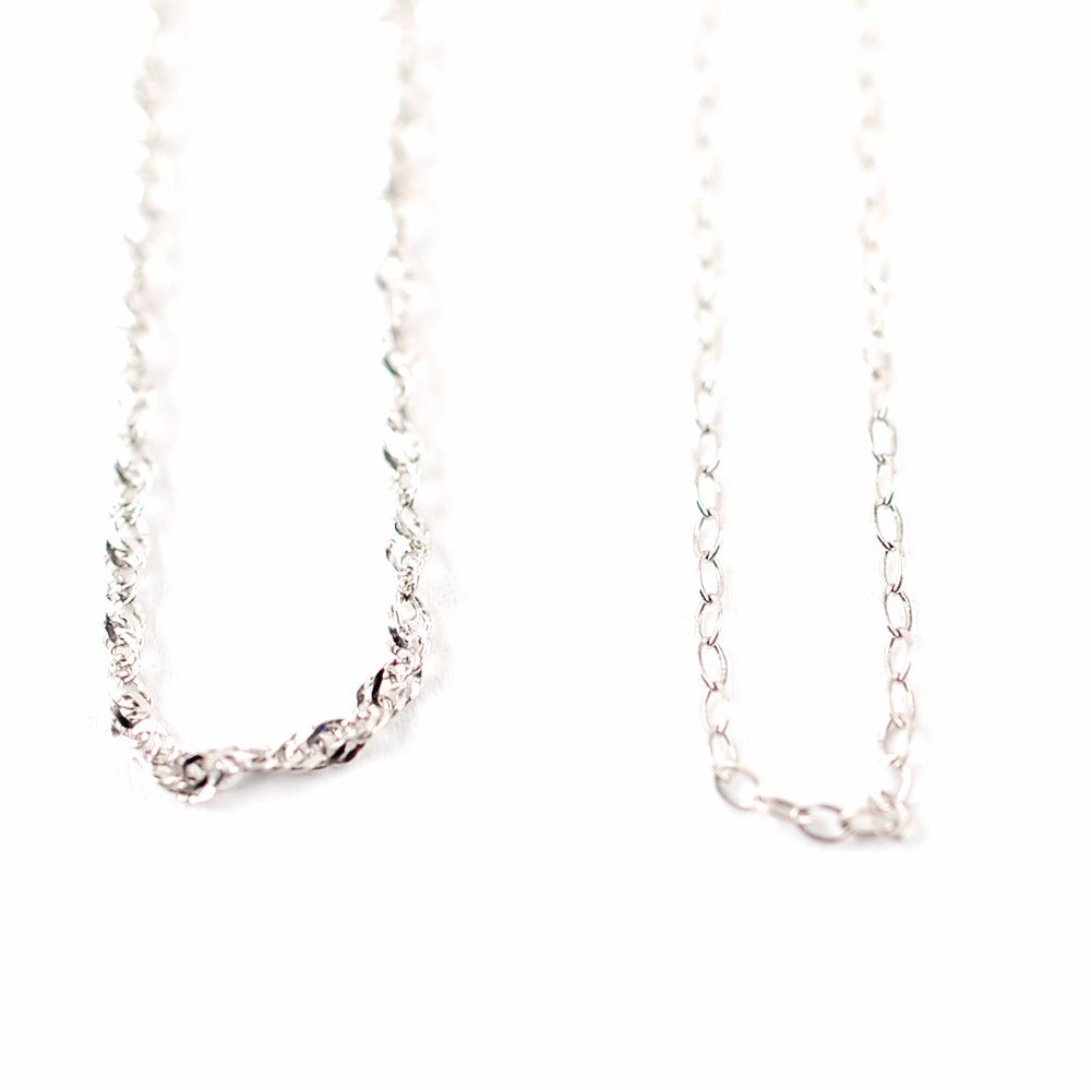 Pair of 14K White Gold Chain Necklaces