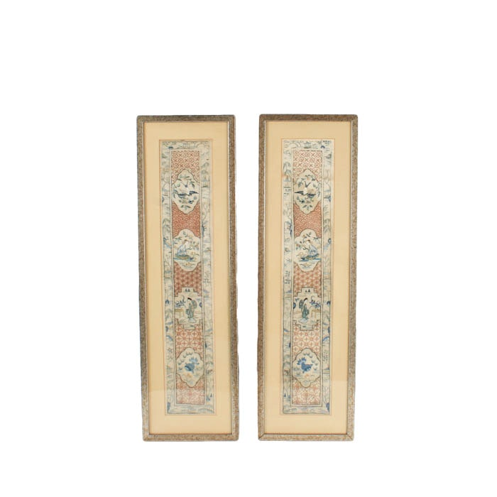 Chinese Framed Embroidered Panels
