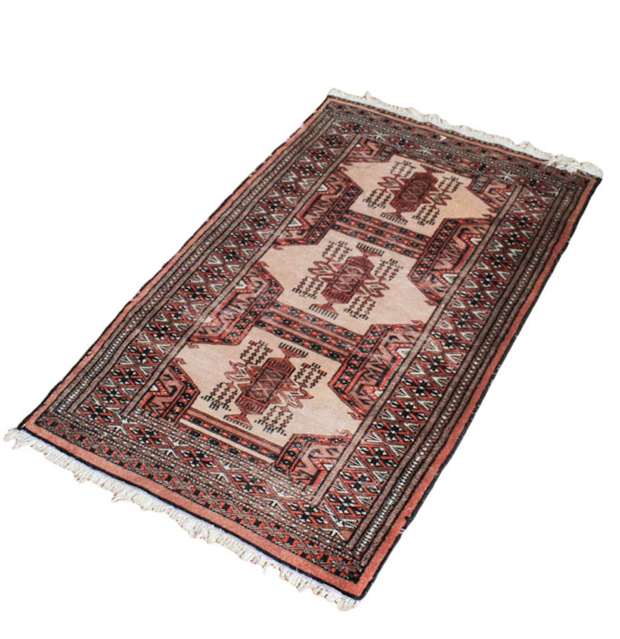 Persian Bokhara Hand Knotted Wool Area Rug: Hand-Knotted Pakistani Bokhara Wool Area Rug : EBTH
