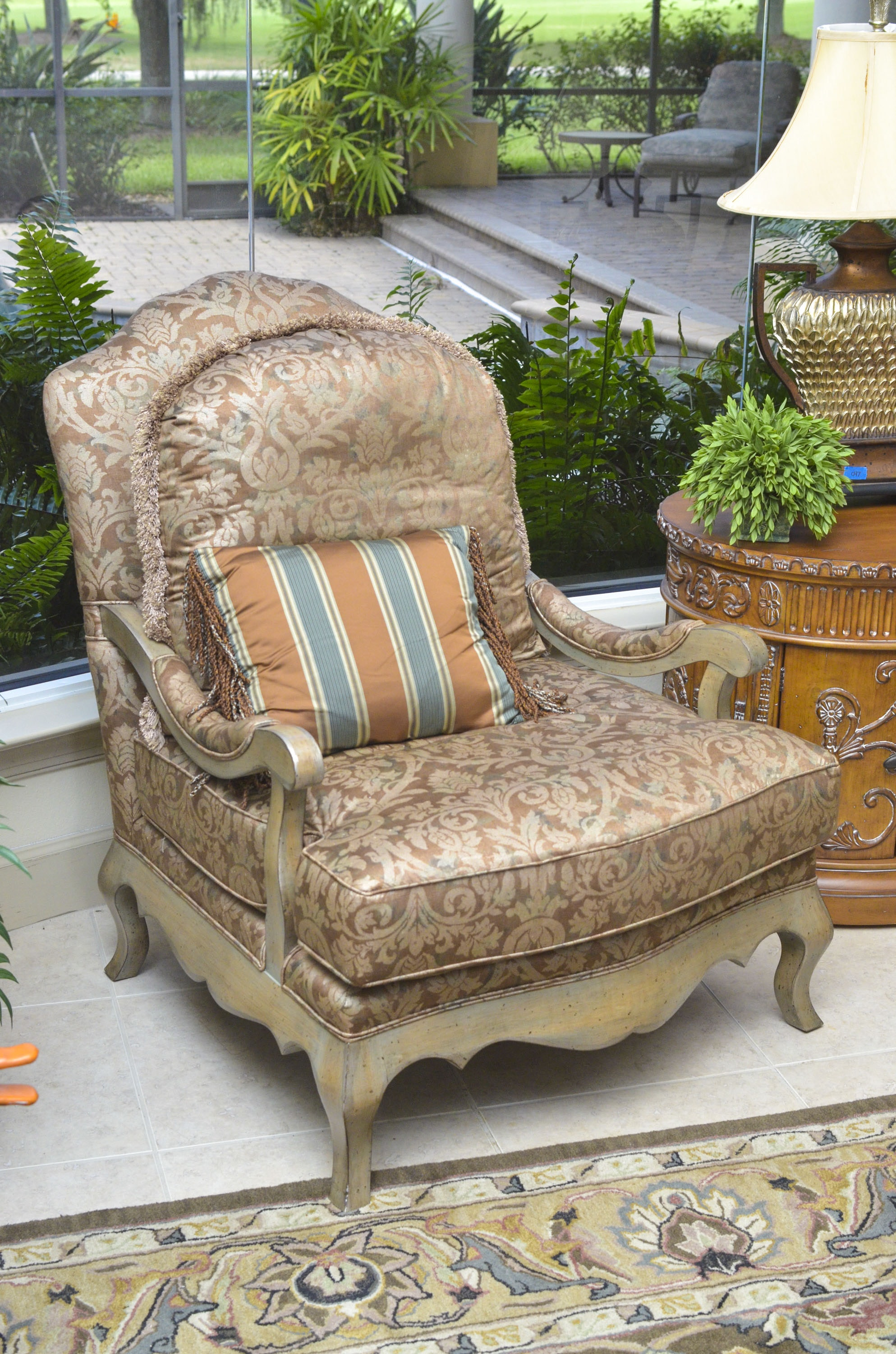Louis XV-Style Upholstered Armchair with Throw Pillow