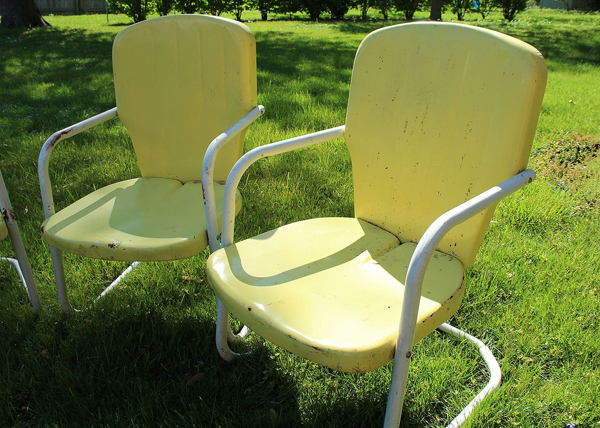 Three Vintage Yellow Metal Patio Chairs Ebth