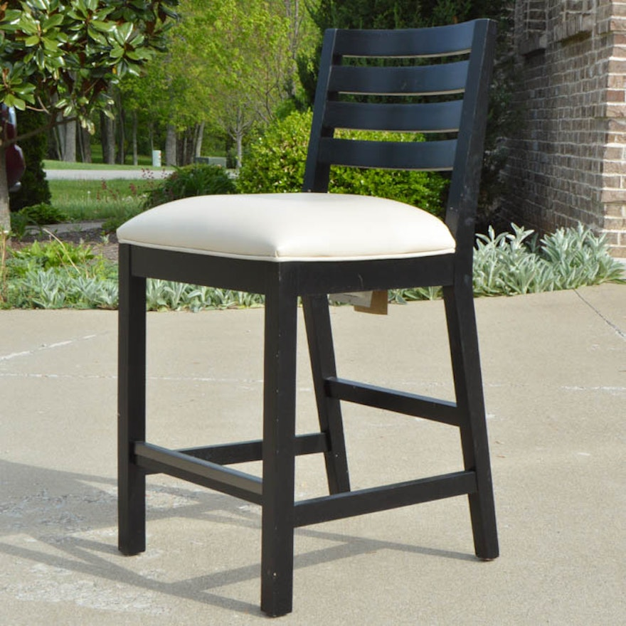 Ethan Allen Stool With Leather Seat