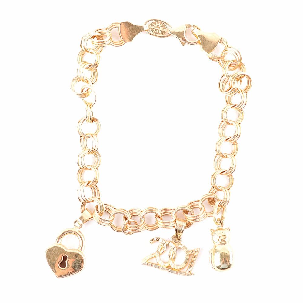 14K Yellow Gold Seven Inch Charm Bracelet