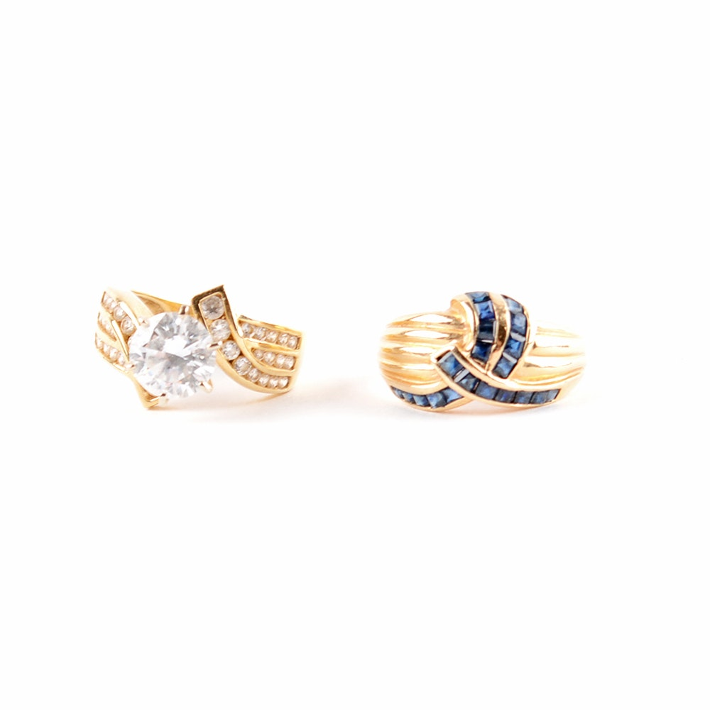 Blue Sapphire and CZ Solitare 14K Gold Rings