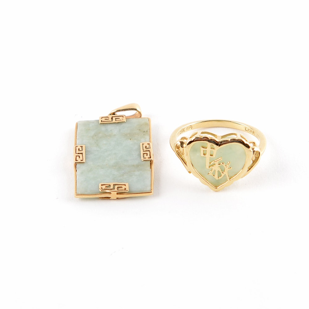 14K Yellow Gold Jade Ring and Pendant Set