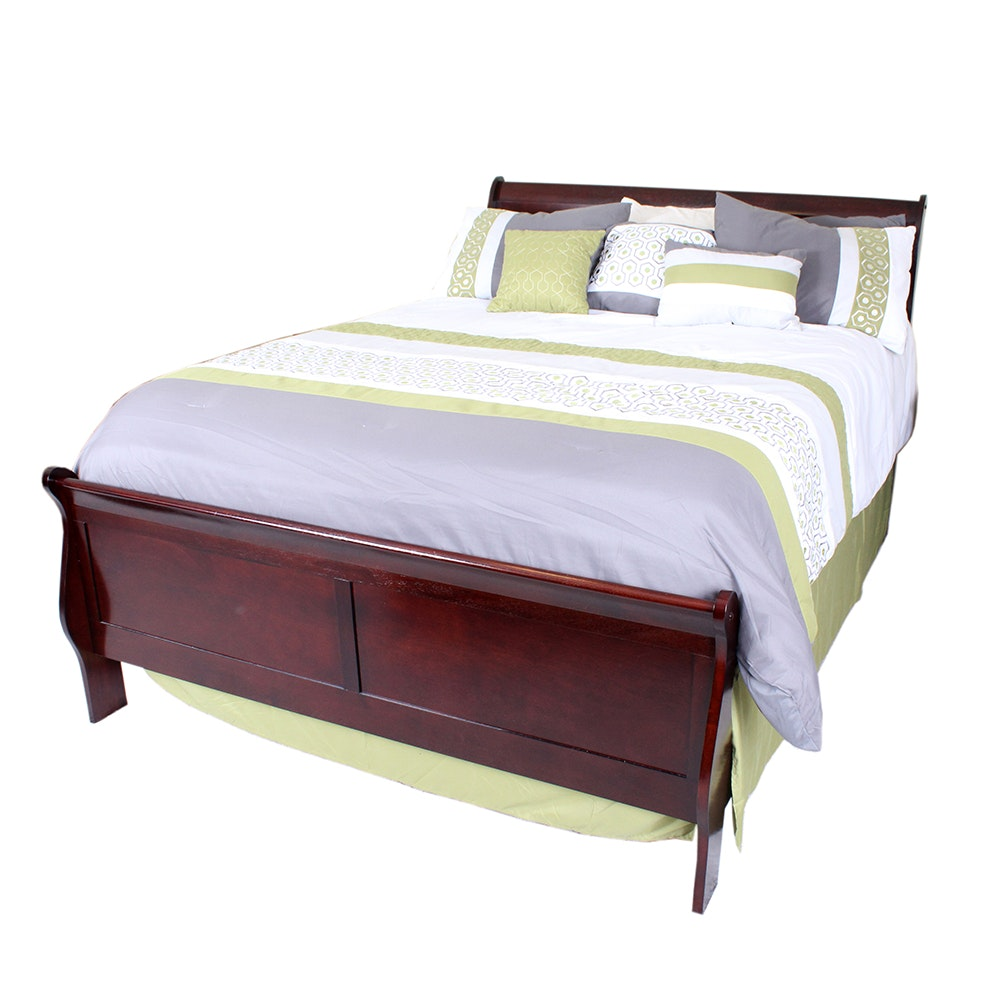 Ashley Furniture Queen Sleigh Bed with Mahogany Finish