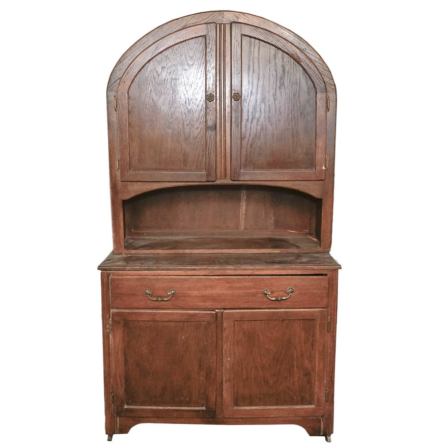 Hoosier Kitchen Cabinet: Antique Dome Top Oak Hoosier Cabinet : EBTH