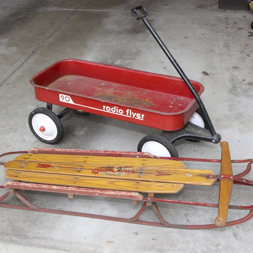 Vintage Radio Flyer Red Wagon and Flexible Flyer Sled