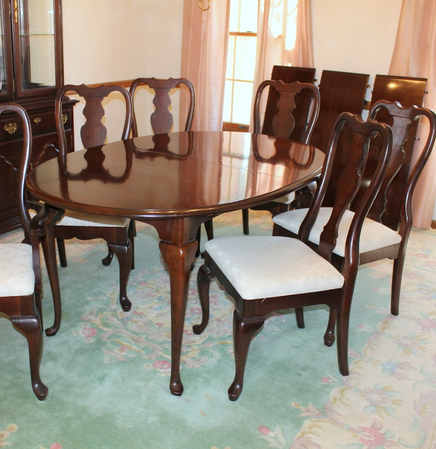 Kincaid Queen Anne Style Dining Table and Six Chairs : EBTH