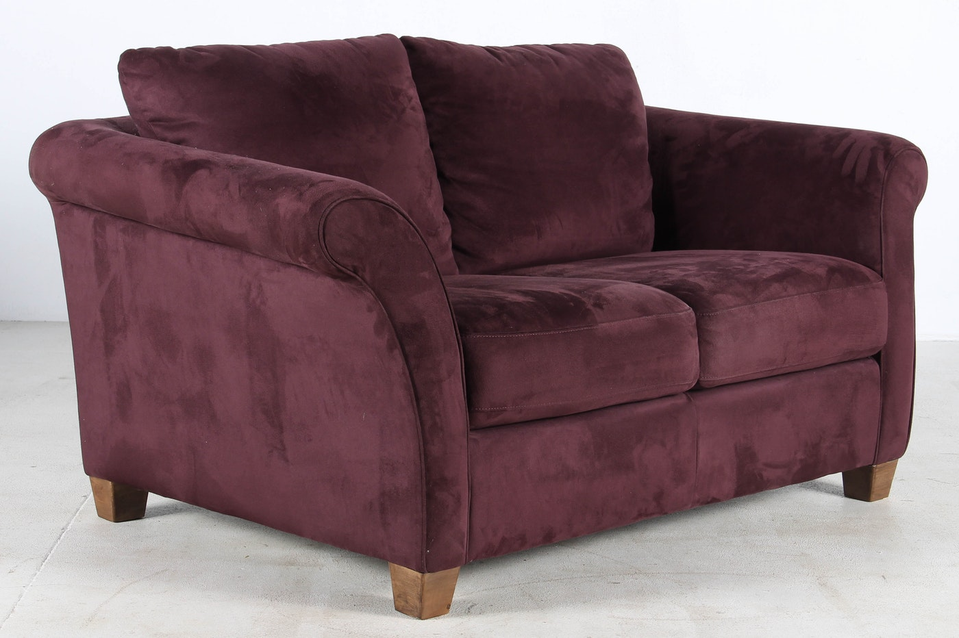 Italsofa Purple Suede Loveseat And Ottoman Ebth