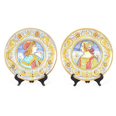 7cd8b788914 Pair of Handmade Deruta Majolica Style Painted Plates