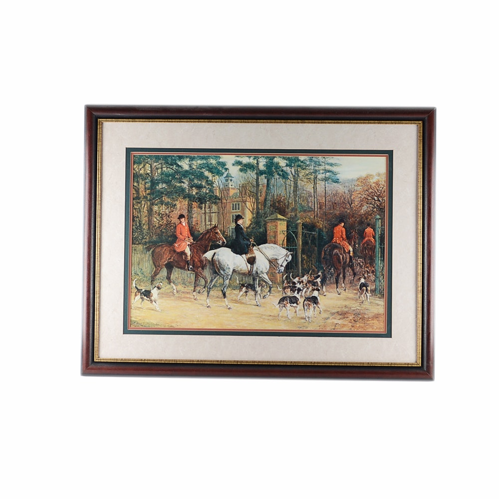 Framed Fox Hunt Themed Photo Offset Lithograph Print