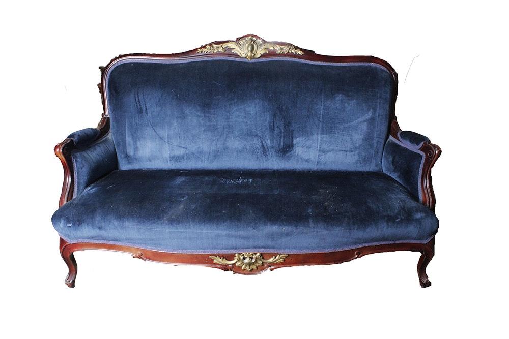 Antique Blue Upholstered Sofa