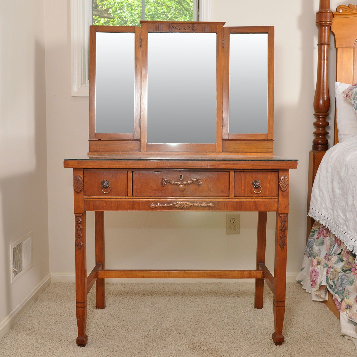 Antique Cherry Dressing Table With Three Drawers And Tri Fold Mirror ...