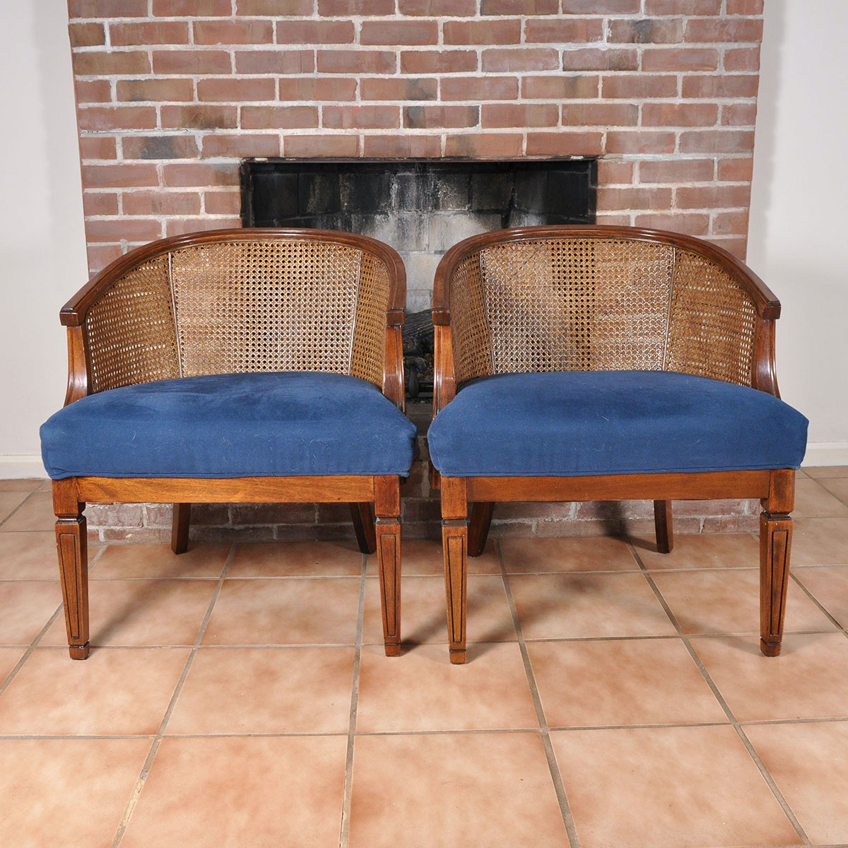 Pair Of Vintage Walnut Barrel Back Chairs With Caning And Blue Padded Seats  ...