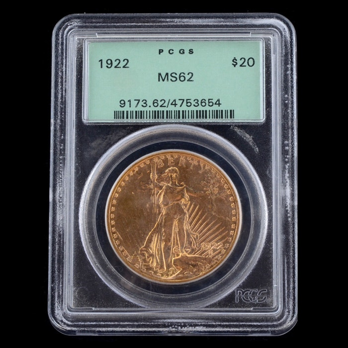 Encapsulated and Graded MS62 (By PCGS) 1922 $20 St. Gaudens Gold Coin