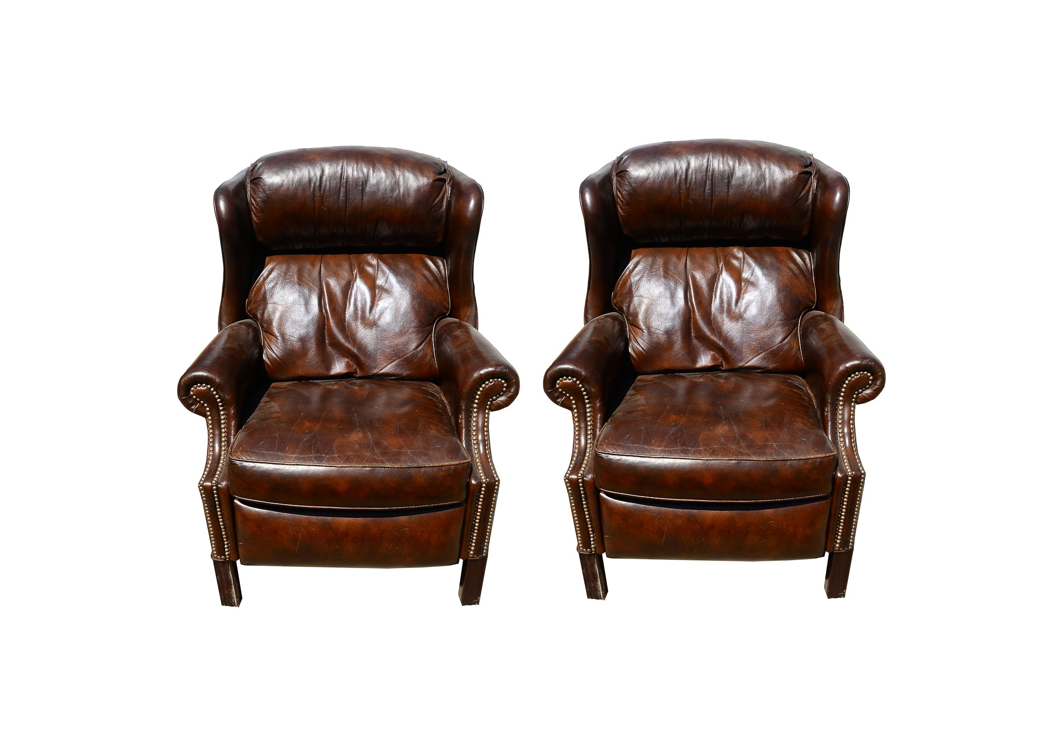 Pair of Brown Leather Wing-Tip Recliners